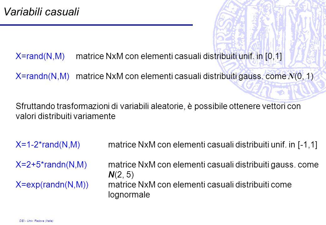 Variabili casualiX=rand(N,M) matrice NxM con elementi casuali distribuiti unif. in [0,1]